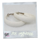 Off White Glitter Hoop Earrings