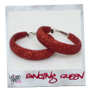 Red Glitter Hoop Earrings